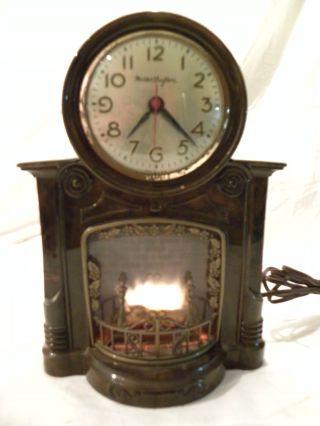 Antique American Mastercrafters Fireplace Clock Circa 1955 Near Perfect Runs photo