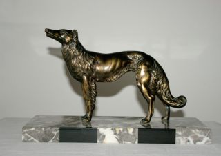 French Antique Art Deco Borzoi Greyhound Spelter Sculpture 1930 photo