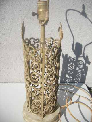Antique Ornate Iron Table Lamp Arts & Crafts - Patina photo