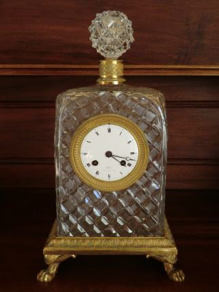 Rare 19th C French St Louis Crystal & Bronze Clock Charles X (1824/1830) photo