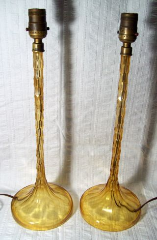Set Of 2 Vintage/antique Vaseline Amber Glass Candlestick Lamps,  Faceted photo