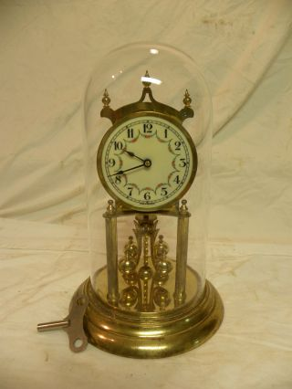 Antique German Kieninger And Oberfell Year Running Clock Under Glass Runs Fine photo