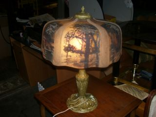 Early Reverse Painted Pittsburgh Table Lamp photo