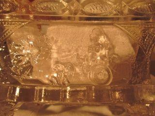 Early 1820s - 30 Flint Glass Sandwich Salt Alegorical Patt.  Horses,  Chariot,  Godess photo