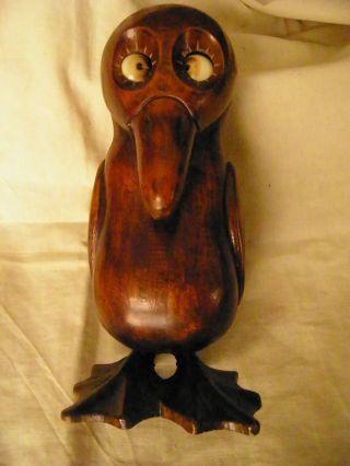 Rare Bird German Rolling Eyes Eye Clock Dated 1926 Wooden photo
