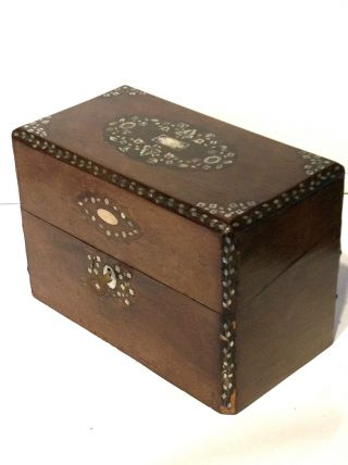 Vintage 1800s Shell Inlay Wood Antique Box With Glass Perfume Bottles photo
