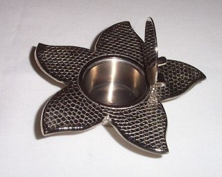 Metal Art Deco Ashtray Flower With Hinged Lid - Can Be Trinket Or Jewelry Box photo