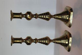 Pair English Push - Up Brass Candlesticks 19th Century Diamond Beehive Pattern photo