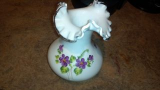 Fenton Vase With Rare Ruffled Top With Hand Painted Violets photo