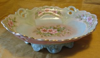 Vtg 1958 Chilton Signed Hand Painted Serving Bowl Footed Base/reticulated Handle photo