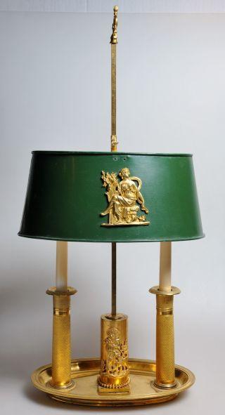C.  1810 Antique Russian Empire Neoclassical Ormolu Bronze 2 Candles Shade Lamp photo