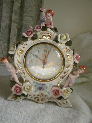 Vintage Heirlooms Of Tomorrow Shelf Clock With Cherubs - Must See photo