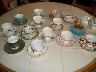 20 Tea Cups And Saucers Vintage For Decoration Royal Albert Royal Stuart & More photo
