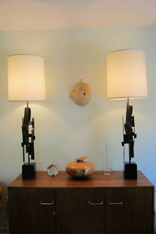 Mid Century Modern Fleming Iron Works Table Lamps Harry Balmer Paul Evans Laurel photo