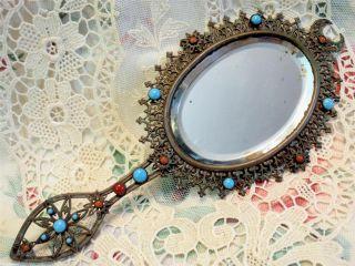Miniature French Bronze Filigree Opaline,  Coraline? Jeweled Beveled Hand Mirror photo