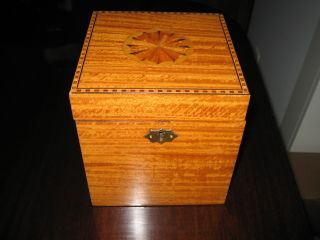 Antique Style Rare Satinwood Fan Inlaid Inlay Tea Caddy Nr photo