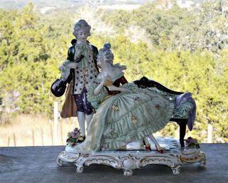 Antique Dresden E&a Muller Porcelain Lace Figurine Man Woman Sofa Violin & Music photo