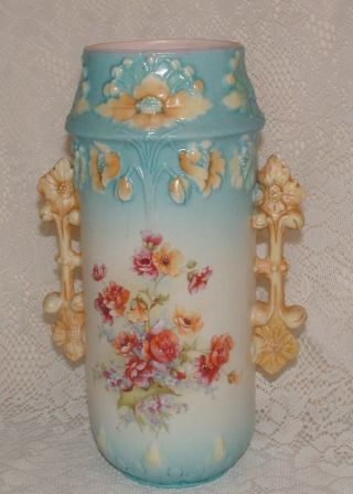 Antique Royal Vienna Signed Floral Two Handle Vase 19th Century - Just - photo