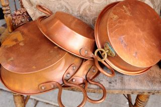 Antique Hammered Copper Pans Mold W Tin Lined Patina 5lbs photo