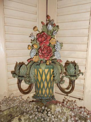 Best Vintage Roses Floral Basket Lattice Tole Wall Sconce Candle Holder photo