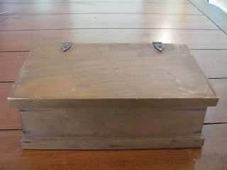 Old Vintage Woodenware Leather Hinged Box W/rope Side Handles photo
