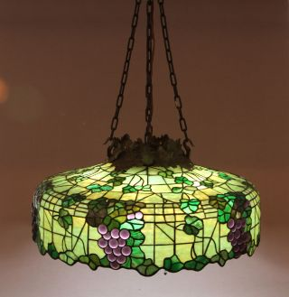 Morgan Jeweled Grape Leaded Glass Lamp Shade Chandelier photo