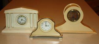3 Different Antique Celluloid Wind Up Clocks,  1920s Vanity & Shelf Clocks photo