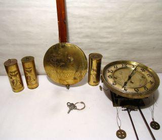 Antique 3 Weight Vienna Regulator Movement And Weights For Restoration photo