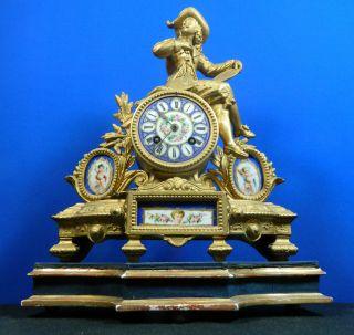 Antique Japy Freres Mantle Clock Sevres Hand Painted Porcelain Plaques photo