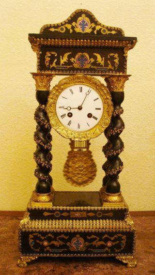 S.  Marti & C.  Ie French Antique C.  19th Empire Marquetery Gilt Bronze Portico Clock photo