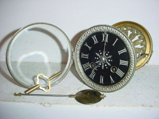 Antique French Clock Movement C 1860 Black Marble Dial N°74// Hole: 3.  98