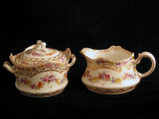 Dresden Floral Creamer & Sugar Bowl Hand Painted Very Detailed photo