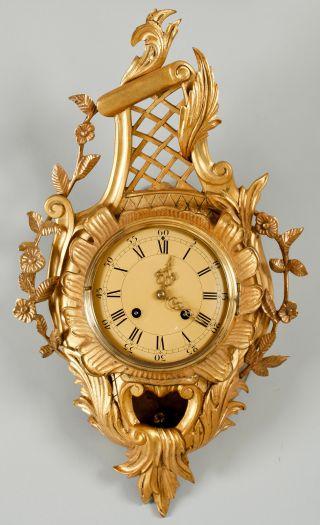 "Solid 24"" Antique Intricate Swedish Rococo Gilt Bronze Wall Cartel Clock 1890 photo"