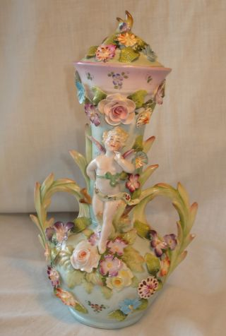 Vtg Hand Painted/made Porcelain Capodimonte Style Urn W Cherub & Applied Flowers photo