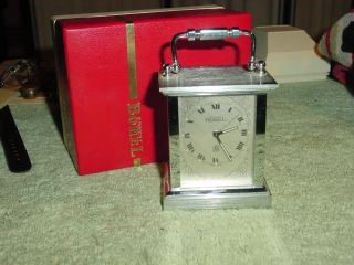 Vintage Ernest Borel 8 Day Chrome Carriage Clock Swiss Made [new In Box] photo