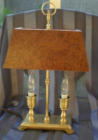 Antique Bouillotte Style Tole Table Lamp Brass With Metal Shade photo