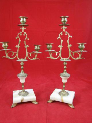 Antique Pair Of Brass Marble French Candelabra Set photo