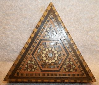 Antique Marquetry Folk Art Inlaid Wood Triangle Sewing Or Trinket Box C.  1900 photo