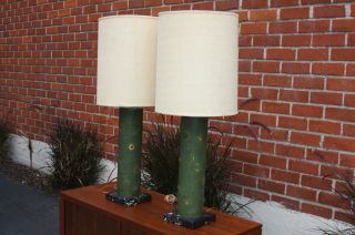 Mid Century Modern Lamps. .  Marble Bases.  1960s.  Mont - Hollywood Regency Deco Nr photo
