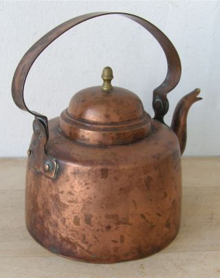 Antique Copper Mini Teapot Lovely Shape And Small Size Rich Patina photo