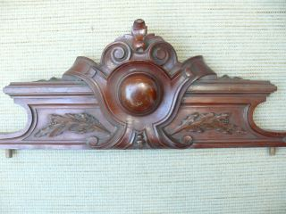 19thc Mahogany Pediment With Relief Carved Decoration photo