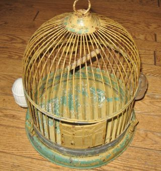 Antique Hendryx Beehive Bird Cage Orig Bowls Rare Spring Load Bird Base Clips photo