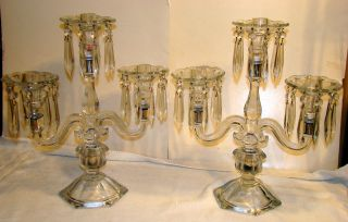 Antique Glass Candelabra 3 Light With Prism Bobeches Pair photo