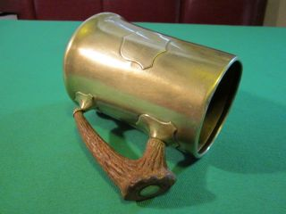 Antique Brass Arts & Crafts Era Tankard With Faux Horn Handle photo
