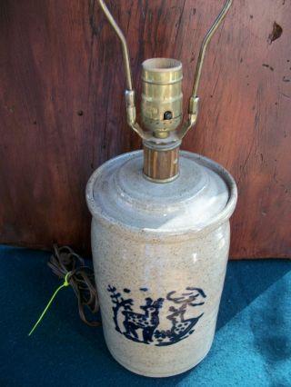 Vintage Stoneware Pottery Blue Glaze Lidded Jar Deer Lamp Salt Glaze photo
