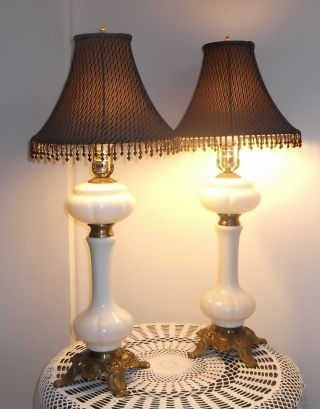 Antique French White Opaline Glass Ornate Bronze Banquet Table Lamp W/ Shades photo