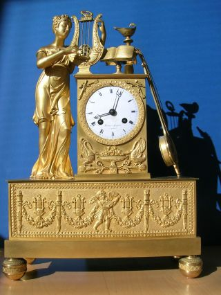 An Empire Gilt - Bronze Mantel Clock Early Xix Century Paris photo