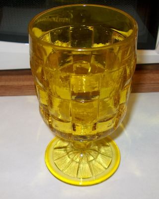 Antique Vintage Four Canary Yellow Stemmed Glasses Goblets Excellent 6