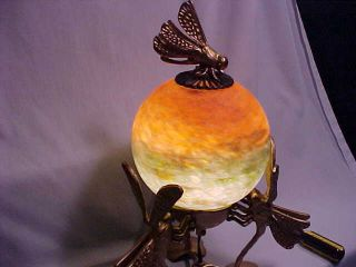 Unique Brass Dragon Fly Lamp With Glass Shade photo