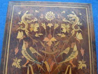 Old Inlaid Wood Marquetry Jewel Or Trinket Box,  Circa: Late 1800 ' S photo